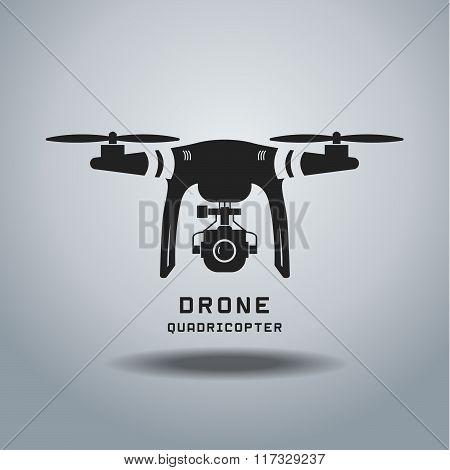 drone with action camera , logo vector