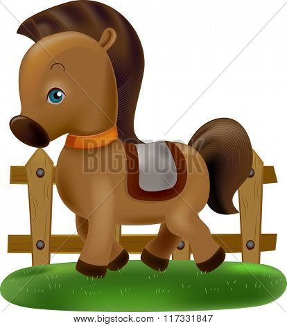 Illustration of a Cute Horse Prancing Around a Farm Enclosed with a Fence