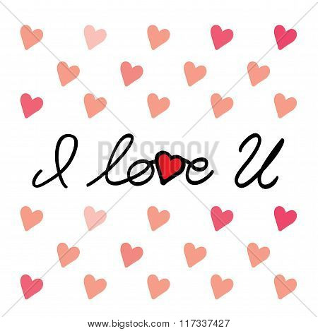 I Love You Message Hand Written Vector Graphic For Valentines Day