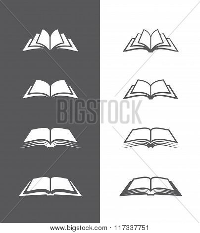 Black and white book icons set