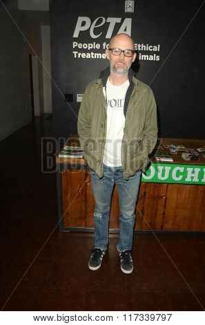 LOS ANGELES - JAN 30:  Moby at the PETA Superbowl Party at the PETA's Bob Barker Building on January 30, 2016 in Los Angeles, CA