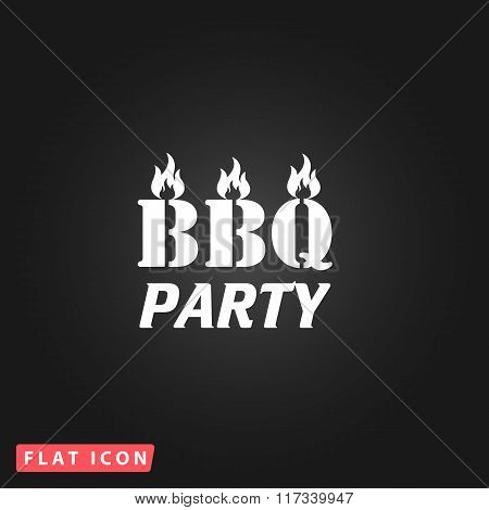 Flaming BBQ Party word design element.