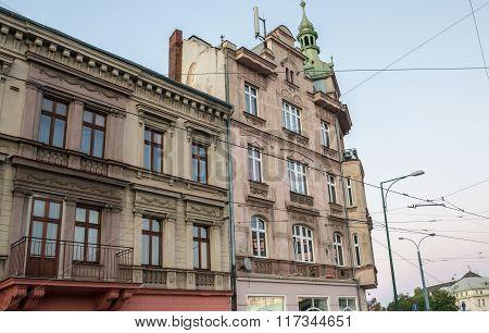 Tenement house in Pilsen city Czech Republic poster