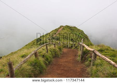 Empty Path To A Viewpoint Over Sete Cidades Lagoon On Azores On Cloudy Weather