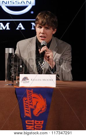 NEW YORK-DEC 11: Kellen Moore, quarterback for the Boise State Broncos, attends the 2010 Heisman Memorial Trophy Award press conference at the Marriott Marquis on December 11, 2010 in New York City.