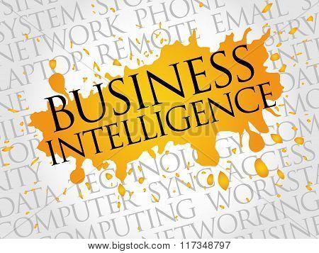 Business intelligence word cloud concept, presentation background