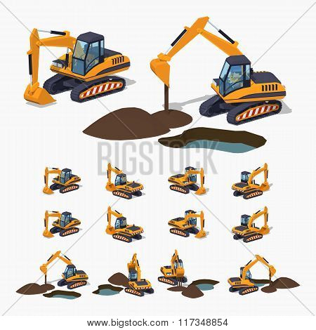 Yellow excavator. Special machinery. 3D lowpoly isometric vector illustration. The set of objects isolated against the white background and shown from different sides poster