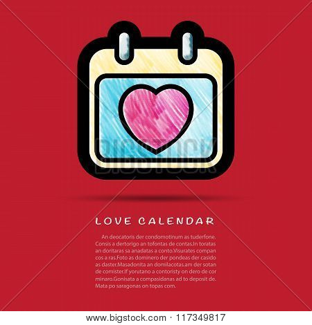 Love Calendar Icon With Colored Pencil Brush