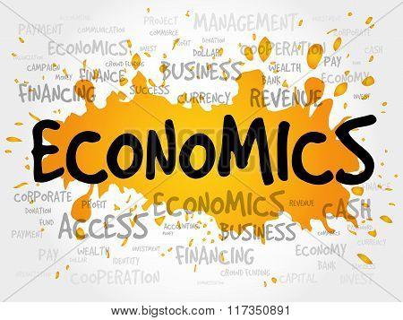 ECONOMICS word cloud business concept presentation background poster