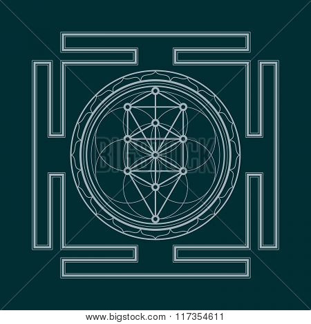 vector silver outline tree of life yantra illustration sacred diagram isolated on dark background. poster