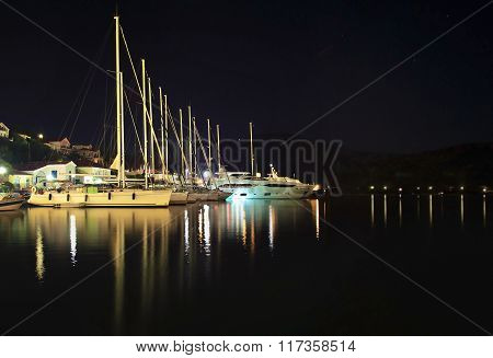 night photography of sailboats at Ithaca island Greece