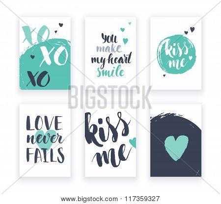 Heart shape cards set
