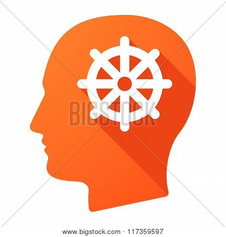 Male Head Icon With A Dharma Chakra Sign