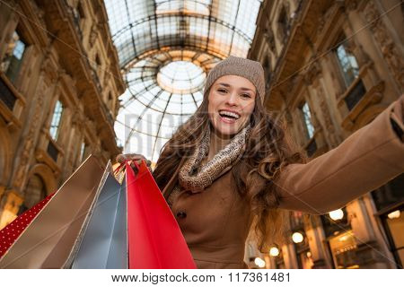 Woman Shopper Taking Selfie In Galleria Vittorio Emanuele Ii