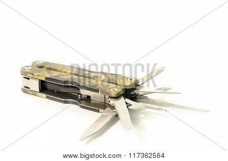 Multifunctional Pen-knife Razor Camouflage Isolated On White Background