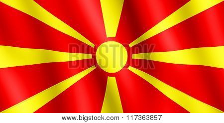Flag Of Republic Of Macedonia Waving In The Wind