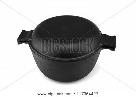 Modern Covered Classic Cast Iron Dutch Oven Or Pot Isolated