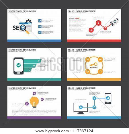 Seach engine optimization presentation templates Infographic elements flat design set