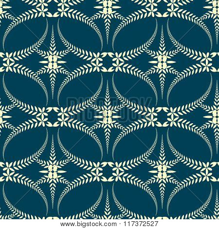 Seamless laurel wreath pattern. Swirl ornament with cross on dark background. Vintage lace texture.