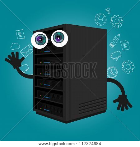 server computer component database big data storage cartoon eyes mascot cute funny smile tech object