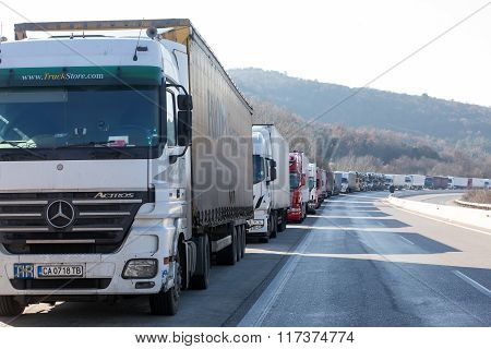 International Transport Trucks Are Blocked  From The Border Crossing Of Promachonas Between Greece A