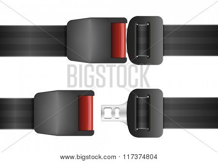 detailed illustration of an open and closed seatbelt, ep10 vector