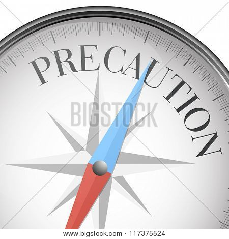 detailed illustration of a compass with Precaution text, eps10 vector