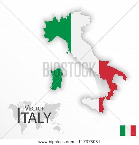 Italy ( Italian Republic ) ( Flag And Map )