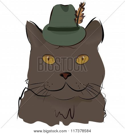 Cute Cat with Hat with Feather