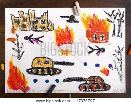 photo of a colorful drawing: tanks attack