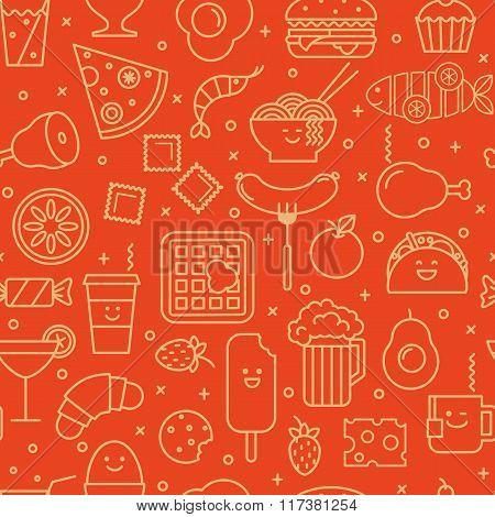 Food iconic seamless pattern