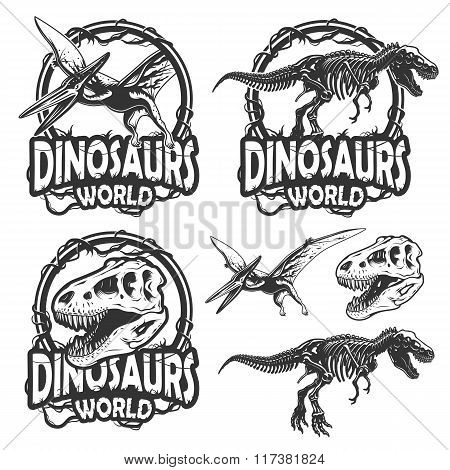 Set of dinosaurs world emblems