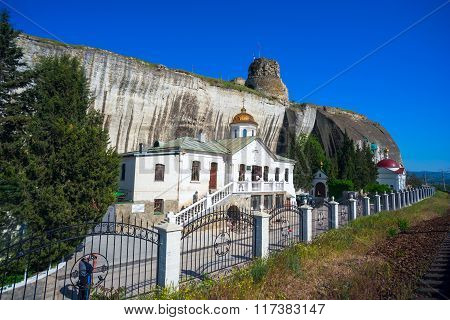Inkerman St. Clement cave monastery in a cliff.