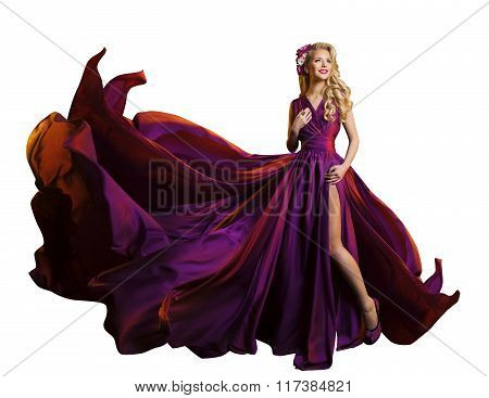 Woman Dress Flying Fabric, Beautiful Fashion Model In Purple Gown White