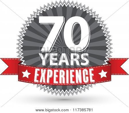 70 Years Experience Retro Label With Red Ribbon, Vector Illustration