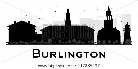 Burlington City skyline black and white silhouette. Simple flat concept for tourism presentation, banner, placard or web. Business travel concept. Cityscape with landmarks