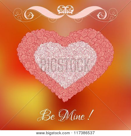Vector heart from pink and white roses with curl