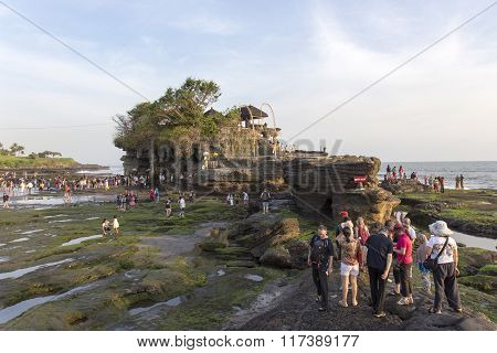Famous Tanah Lot Temple On Sea In Bali Island Indonesia