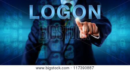 Business client pressing LOGON on a touch screen interface. A set of unlocked virtual locks in a coding matrix represent authorized access upon successful identification. Security technology concept. poster