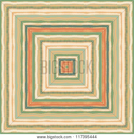 Seamless strip ethnic ornamental pattern. Rectangle, square lines with torn paper effect. Shred edge background. Sanguine, green, beige, orange, sand, soft, pastel colors. Vector illustration poster