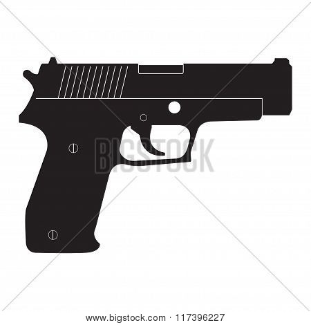 Pistol icon. Vector gun silhouette.