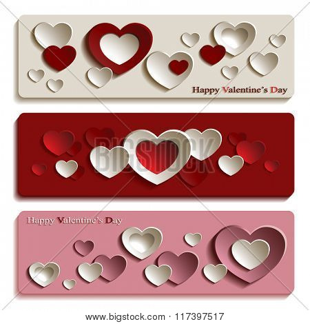 Vector Set of Three Trendy Banners for Valentine's Day with Cute Pink, Red and White Paper Hearts