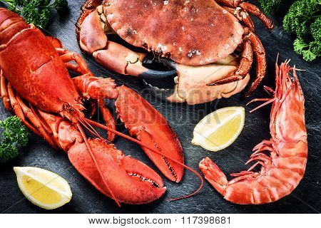 Fine Selection Of Crustacean For Dinner. Lobster, Crab And Jumbo Shrimp
