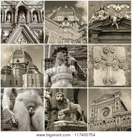 Travel Photo Collage Of Historic Centre Of Florence, Italy.