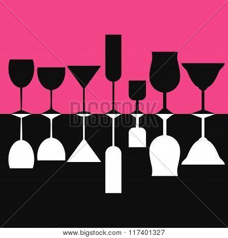 Wine glasses silhouettes