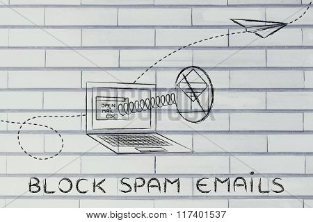 Mail Coming Out Of A Computer With A Spring & Stop Sign, With Text Block Spam Emails