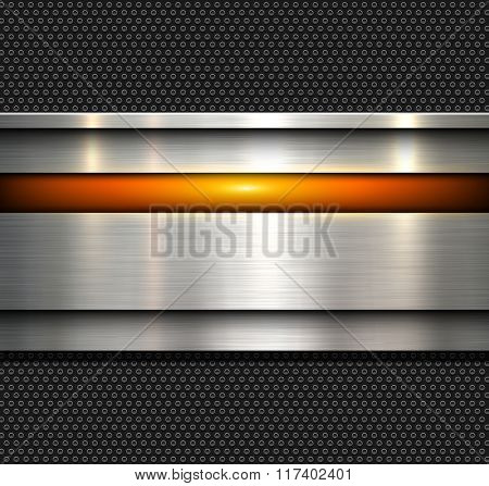 Background, polished metal texture with holes pattern textured backdrop, vector illustration.