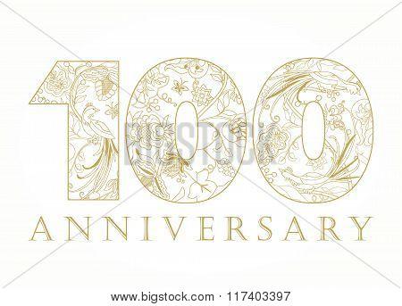 100 anniversary vintage golden numbers.