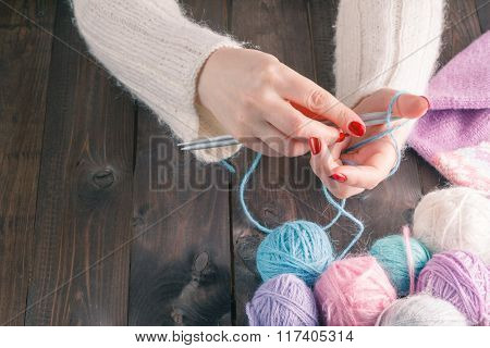 Woman Hands Knitting With Stylish Knitting Needles