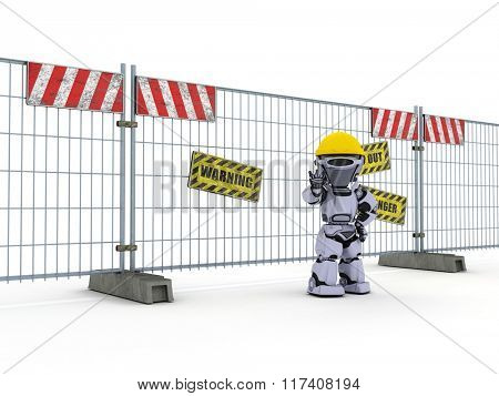 3D Render of a Robot with construction barrier fence